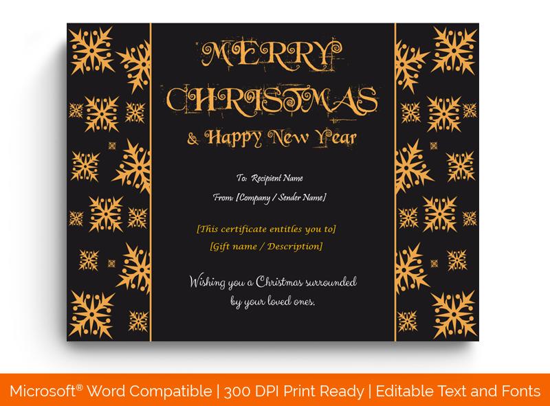Printable Christmas Gift Certificate Template Border 1887