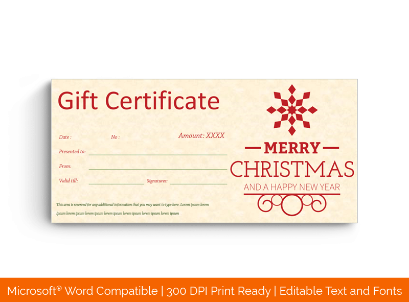 Red Snowy Christmas Gift Certificate Template 77