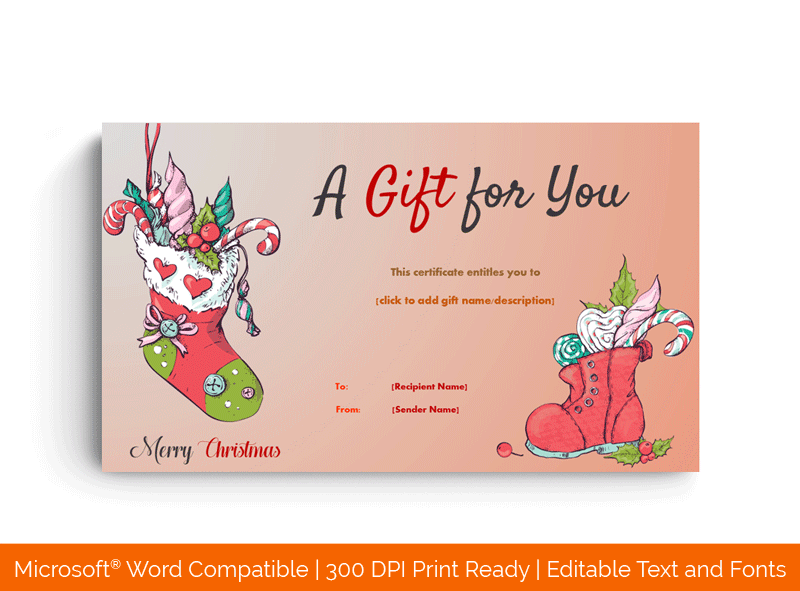 Red Socks Christmas Gift Certificate Template MS Word 44