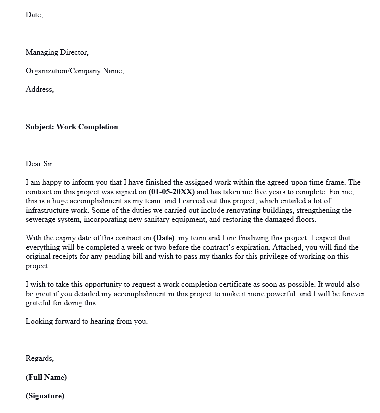 Request Letter for Work Completion Certificate