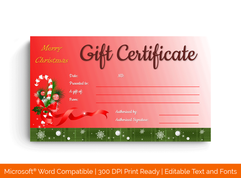 Ribbon Design Christmas Gift Certificate Template Red 35