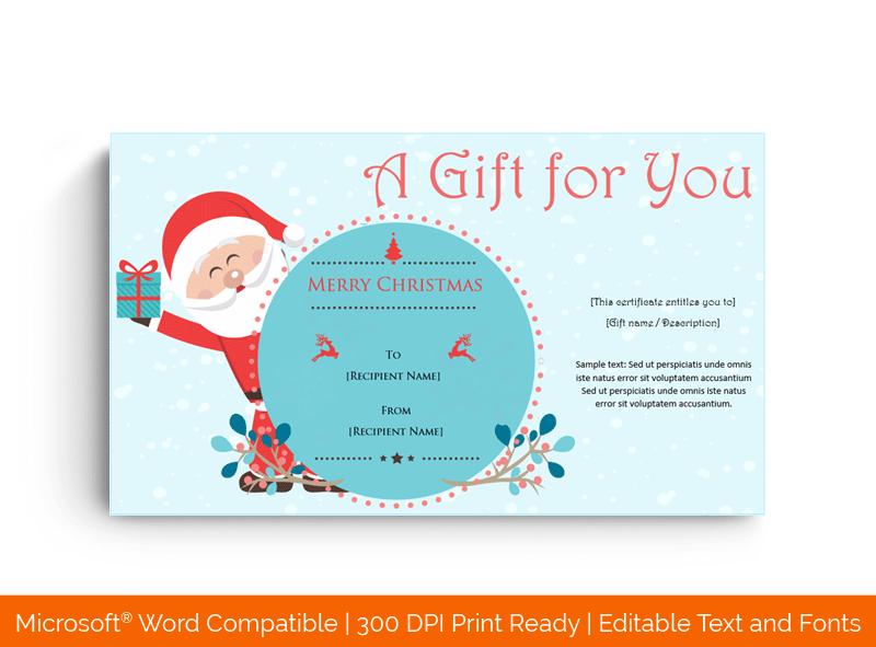 Santa Christmas Gift Certificate in MS Word 202069