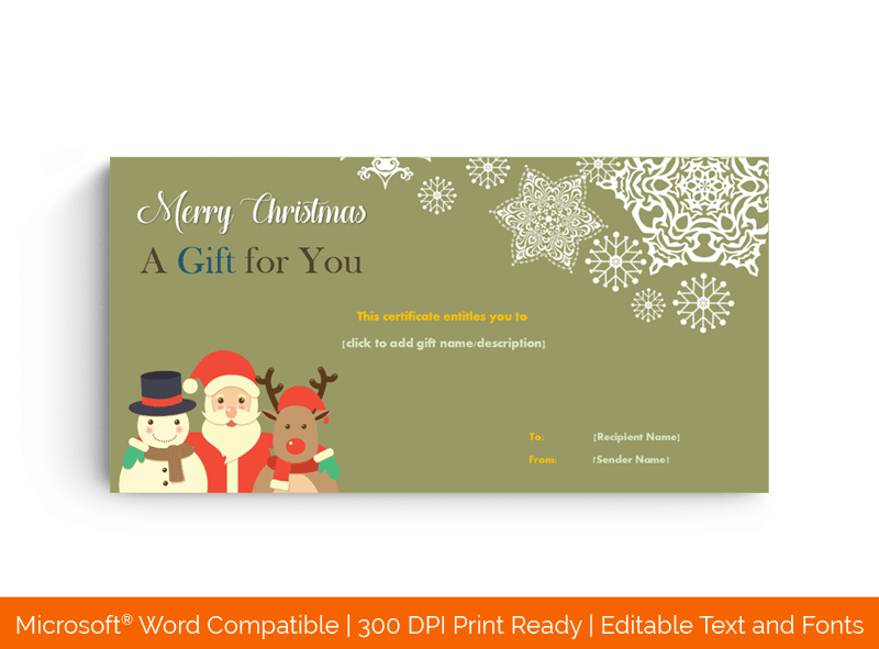 Santa Claus Christmas Gift Certificate Template Green 2356