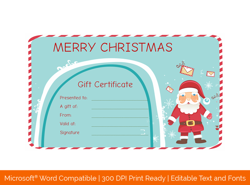 Santa Messages Christmas Gift Certificate Template 77