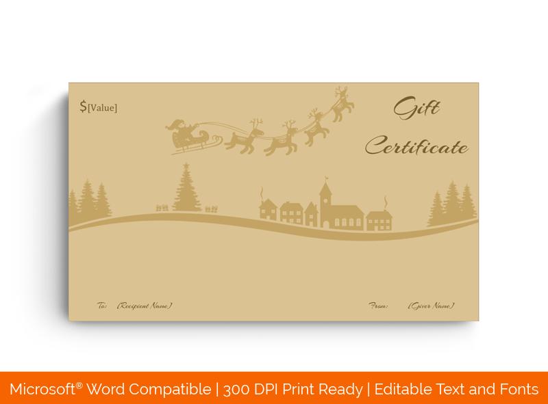 Santa Sleigh Bells Christmas Gift Certificate in Word 9632