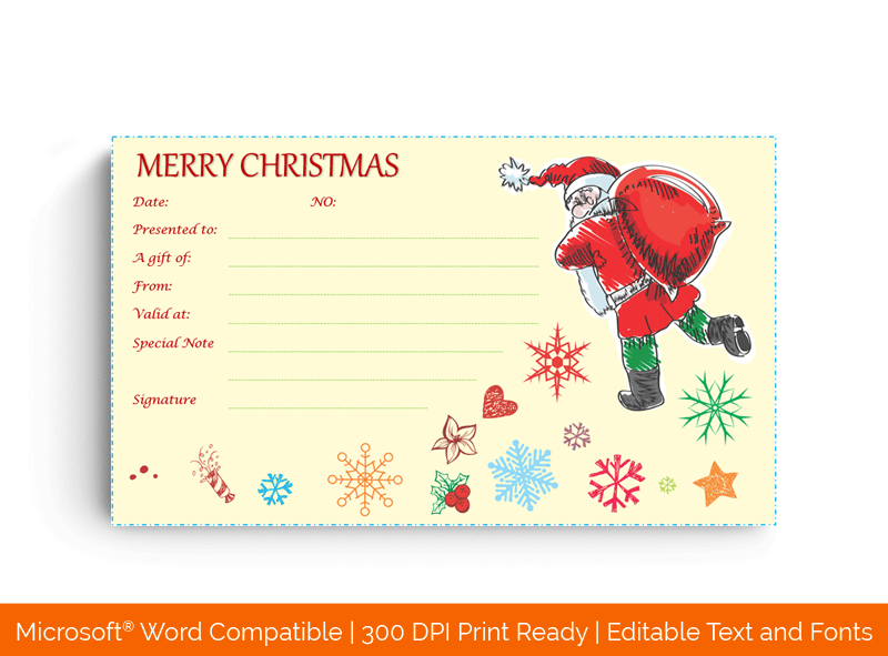 Santa With Gifts Gift Certificate Template in Word 5695