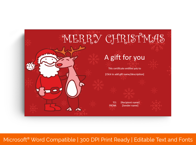 Santa and Reindeer Gift Certificate Template in MS Word Red 66