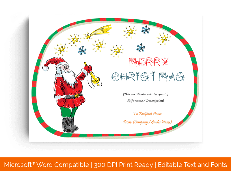 Santaclaus Christmas Gift Certificate Template 3598