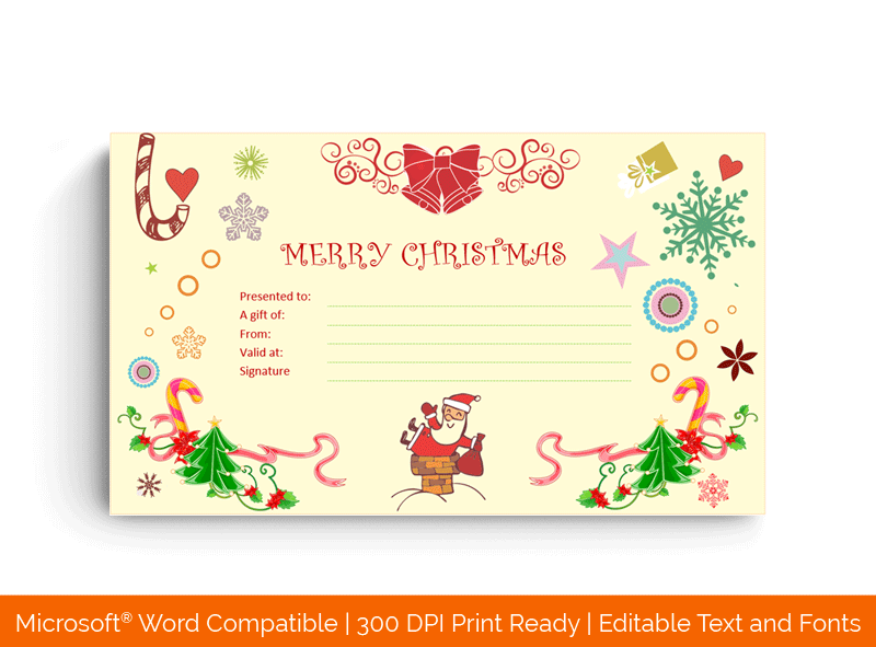 Santaclaus Gift giving Christmas Gift Certificate Template 2596