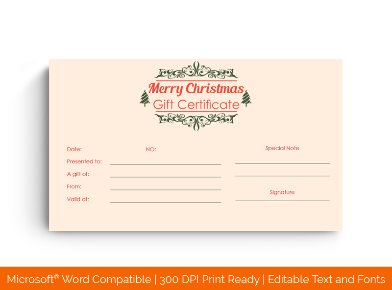 Simple Christmas Gift Certificate Template in MS Word 22