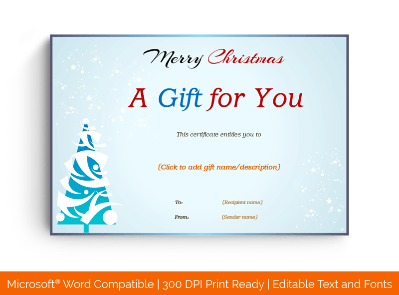 Snow Fall Merry Christmas Gift Certificate Template Word 88