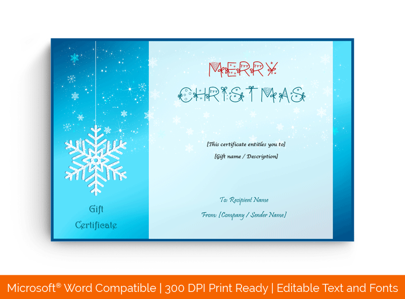 Snowflake Design Gift Certificate Template Ice 38795