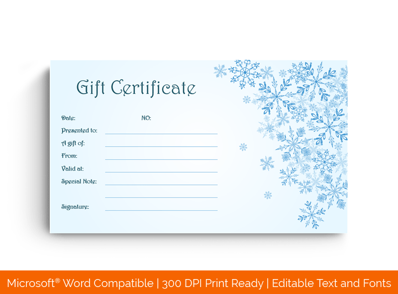 Snowflakes Christmas Gift Certificate Template in MS Word 58598