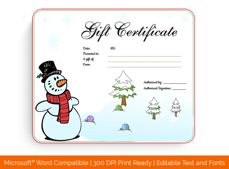 Snowman Christmas Gift Certificate Template Word 649