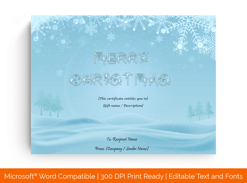 Snowy Christmas Gift Certificate Template in Word 5895
