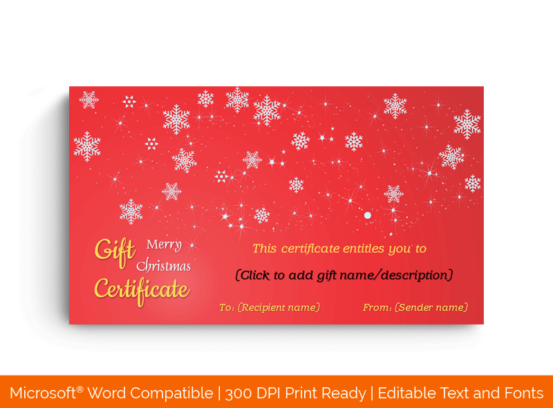 Twinkly Christmas Gift Certificate Template Red BG