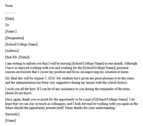 Teacher Resignation Letter Template And Examples Purshology