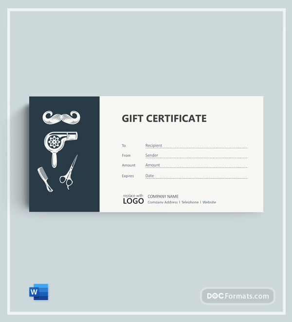 Barber Shop Gift Certificate Template in Word