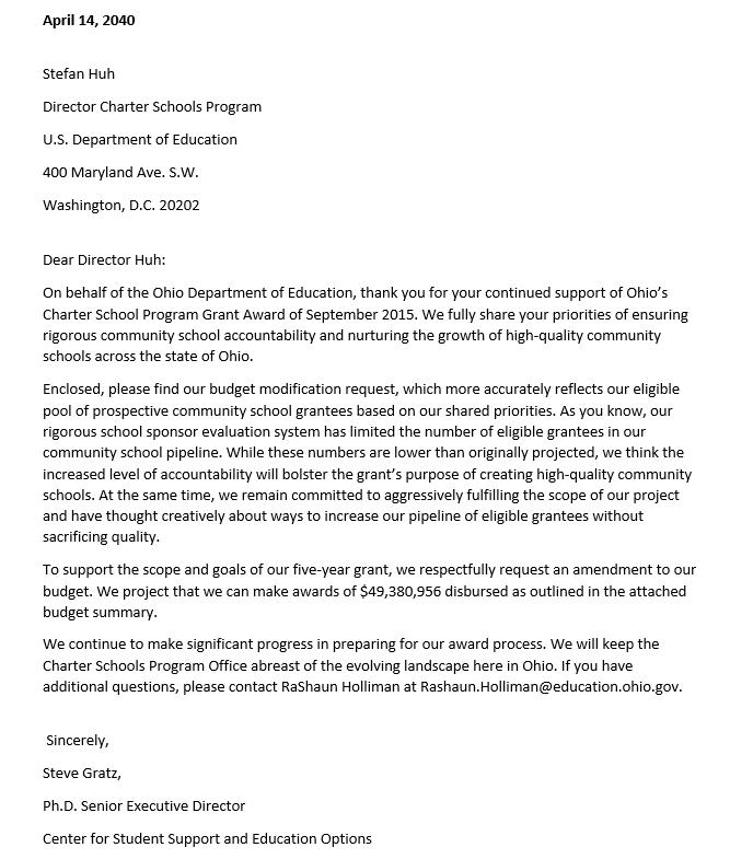 Budget Modification Request Letter