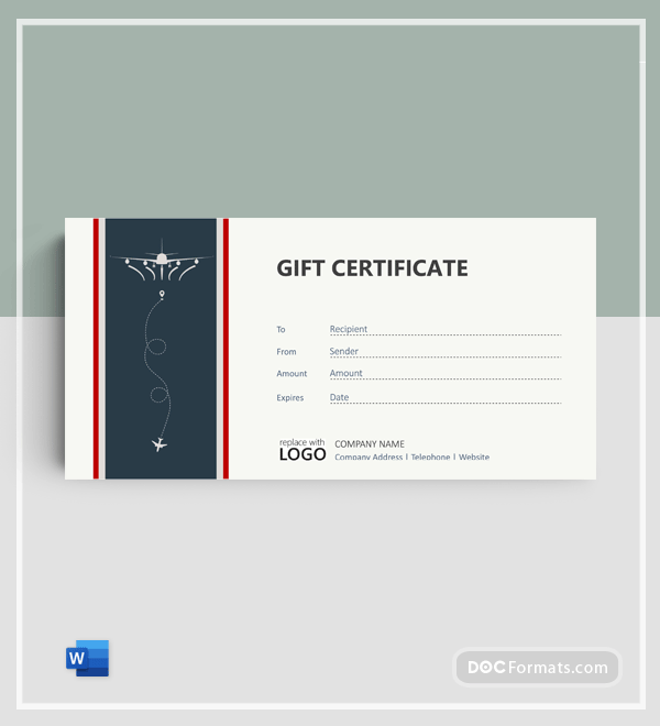 Free Airline Ticket Gift Certificate Template