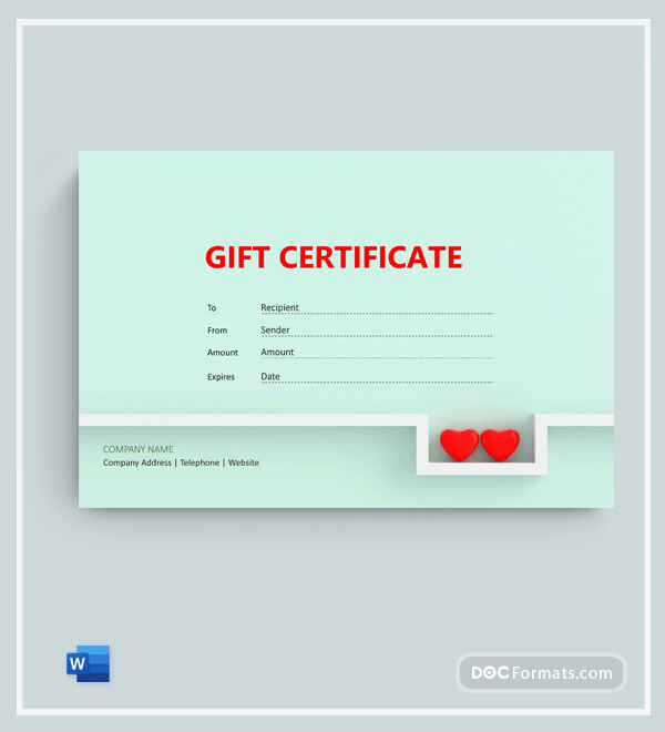 Free Anniversary Gift Certificate Template