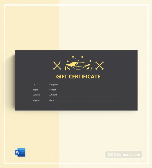 Free Car Detailing Gift Certificate Template