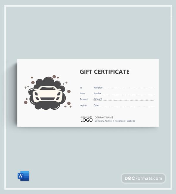 Free Car Detailing Gift Voucher Template