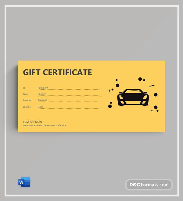 Free Car Wash & Detailing Gift Certificate