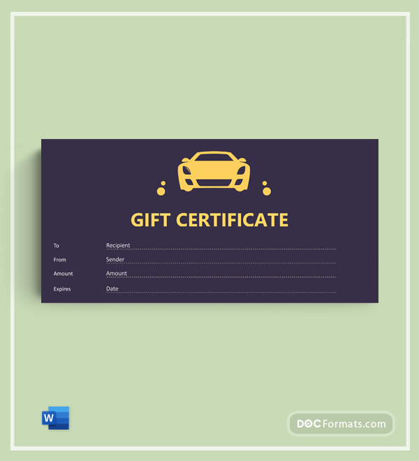 Free Car wash gift certificate template