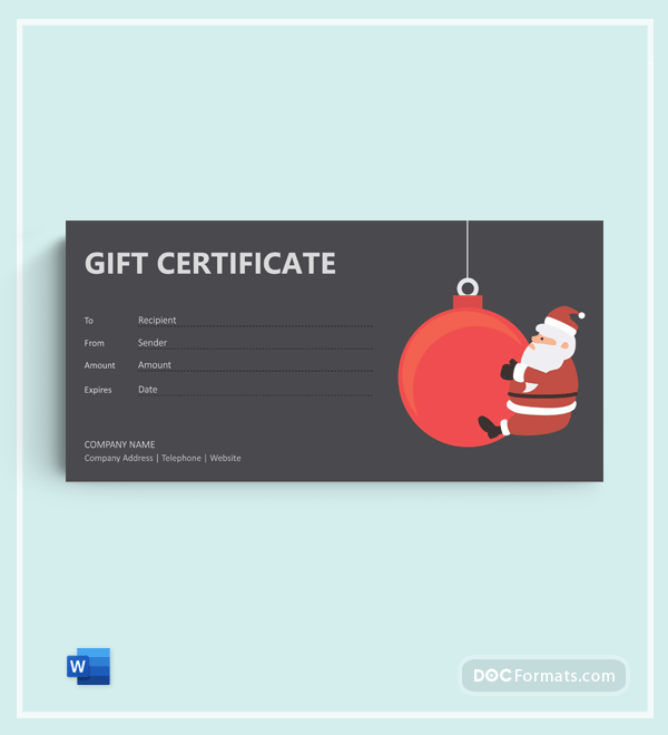 Free Christmas Gift Certificate Template in Word
