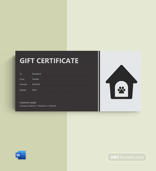 Free Dog Gift Certificate Template