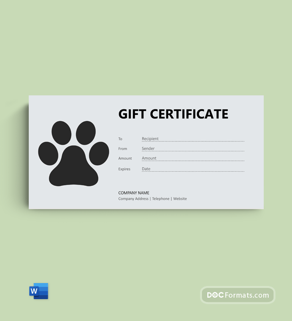 Free Dog Gift Certificate in Word