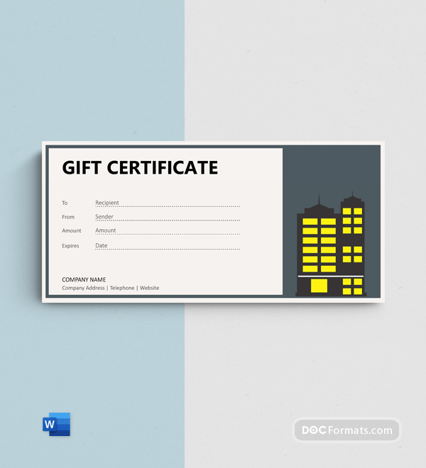 Free Hotel Gift Certificate template