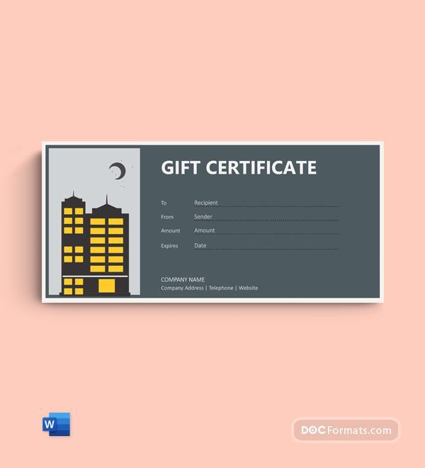 Free Hotel Night Certificate Template