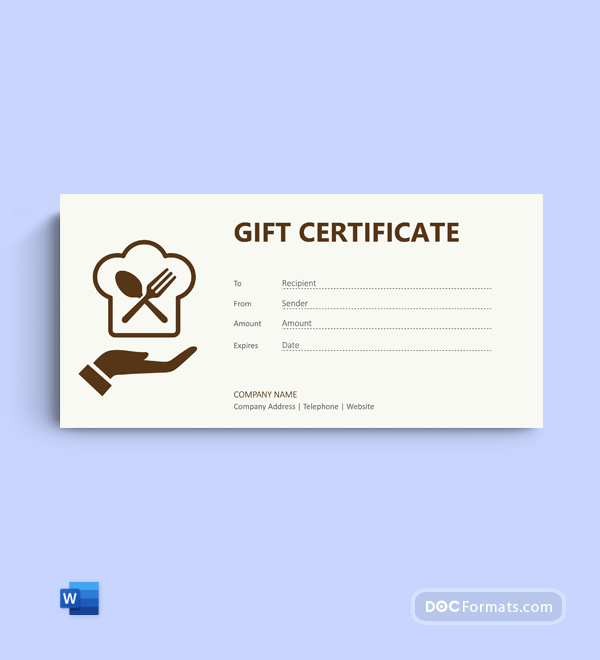 Free Lunch Gift Certificate Template in Word