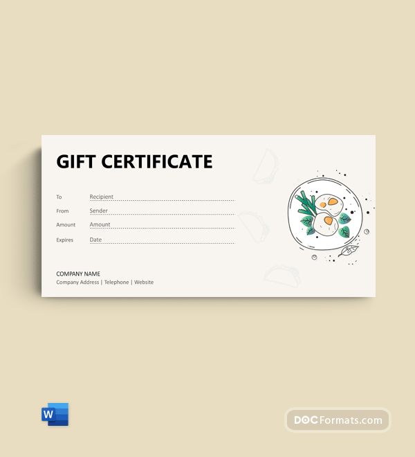 Free Lunch Gift Certificate Template