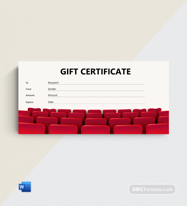 Free Movie Gift Certificate Template