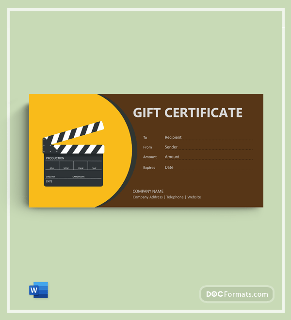 Free Movie Gift Certificate in Word