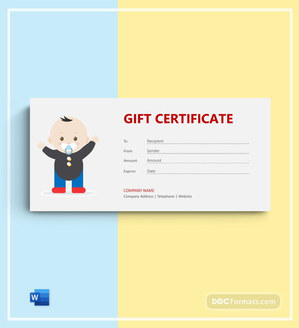 Free Newborn Photography Gift Certificate in Word