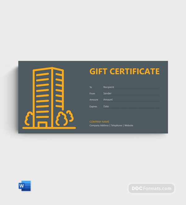 Free Night Stay Gift Certificate Template