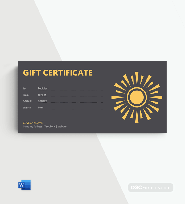 Free Spray Tan Gift Certificate Template