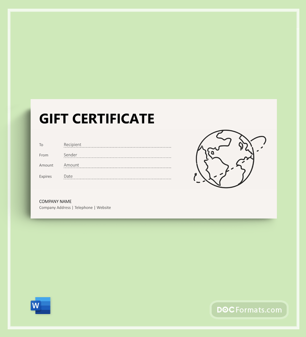 Free Travel Agency Gift Certificate Template
