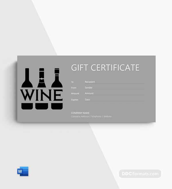 Free Wine Gift Certificate Template in Word