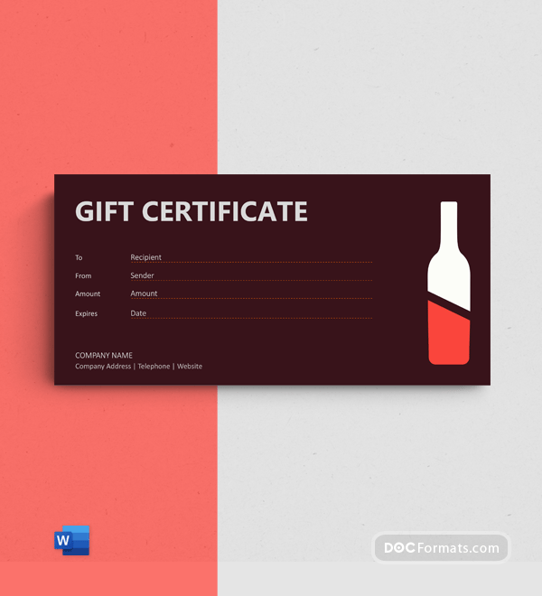 Free Wine Gift Certificate Template
