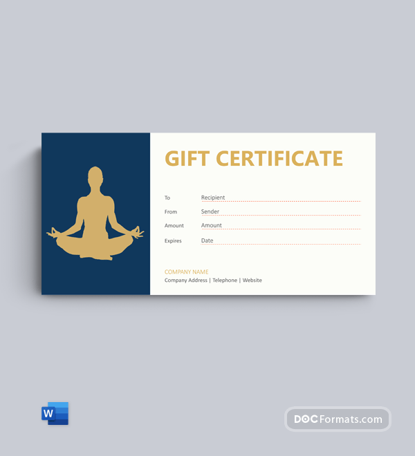 Free Yoga Gift Voucher Template in Word