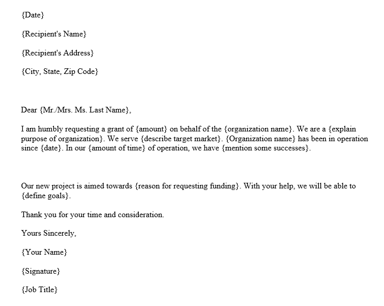 Funding Request Letter (Word Template)