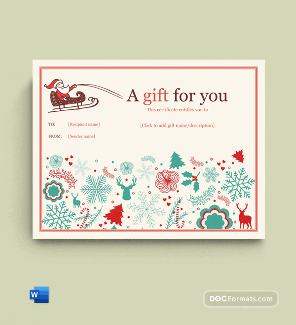 Holly Jolly Gift Certificate Template