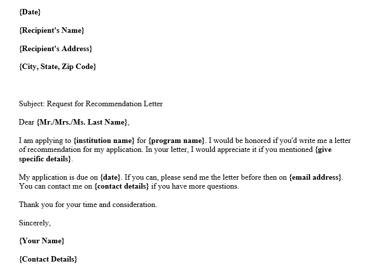 Request For Letter Of Recommendation Template from images.docformats.com