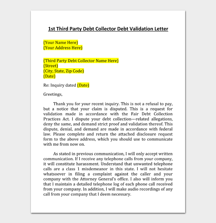 1st Third Party Debt Collector Debt Validation Letter
