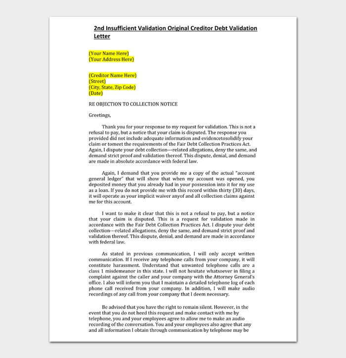 2nd Insufficient Validation Original Creditor Debt Validation Letter